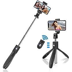 """Abafia Perche Selfie Trépied, 360°Perche Selfie Bluetooth Monopode avec Télécommande Rechangeable, Bâton Réglable Télescopique pour iPhone XS Max, Galaxy S9 Plus,Sony Xperia,Huawei et etc (4.5-6.5"""")"""