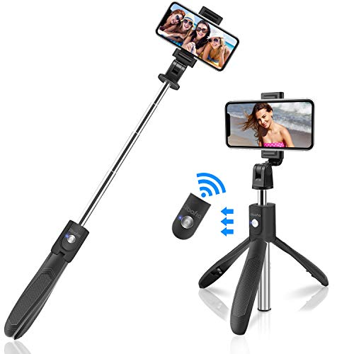 Abafia Palo Selfie Trípode, 3 en 1 Selfie Stick Bluetooth Extensible Rotación de 360 ° con Control Remoto para iPhone XS/X / 8 / Samsung S9 / S8 / Huawei P20 y Otros Android e iOS (4.5-6.5'')