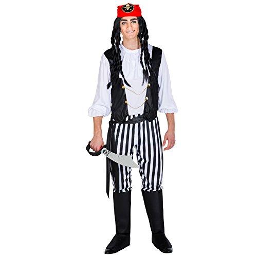 Herrenkostüm Pirat Captain | Hose mit integrierten Stiefelstulpen + Bandana & Bindegürtel | Seeräuber Verkleidung (XXL | Nr. (Einfache Männer Kostüm Piraten)