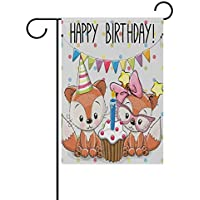 Garden Flag Yard 12x18 in Happy Birthday Double Sided Cute Cute Foxes Baby with Cake New Born Child Party Birthday Banner Best Birthday Gift