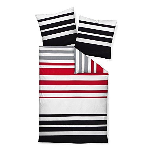 Schwarze Satin-bettbezug (Janine Design Mako-Satin Bettwäsche J.D. 87028-01 rot schwarz 1 Bettbezug 135 x 200 cm + 1 Kissenbezug 80 x 80 cm)