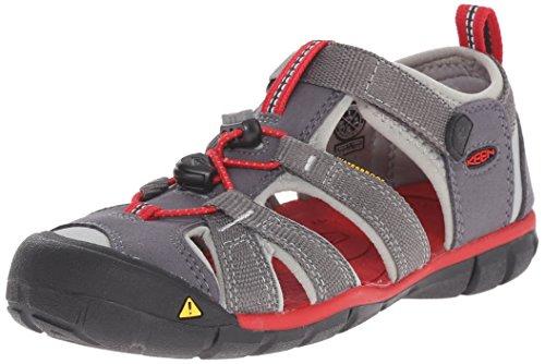 Keen Unisex-Kinder Seacamp II Cnx Geschlossene Sandalen, Grau (Magnet/Racing Red), 27/28 (9 Kinder UK)