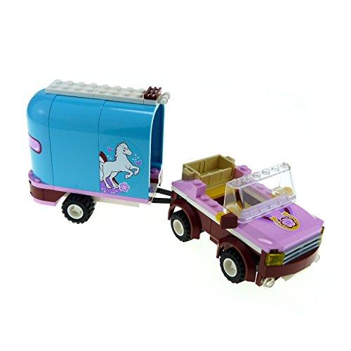 Preisvergleich Produktbild 1 x Lego System Set Modell für Nr. 3186 Pferde Wagen mit Jeep für Friends Emma's Horse Trailer hell blau rosa incomplete unvollständig