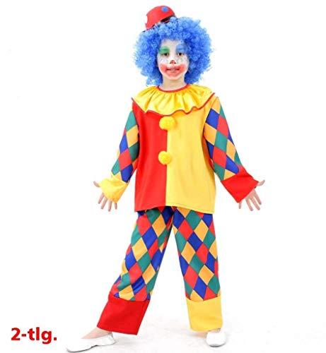Chica Kostüm Toy - KarnevalsTeufel Kinderkostüm Clown Chico, 2tlg. Oberteil und Hose, kunterbunt, Karneval, Fasching, Zirkus, Mottoparty (164)