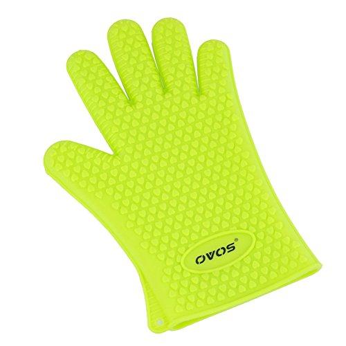 OVOS Kochen Handschuhe Silikon Hitzebeständige wasserdichte Schutzhandschuhe für BBQ Raucher Grill Ofen und Backen (1 Paar) (Grün) Mikrowellen-ofen-fäustlinge