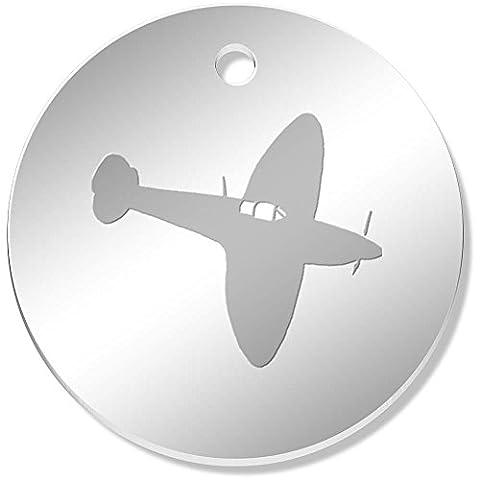 11 x 34mm 'Avion Spitfire' pendentif miroir (PN00022601)