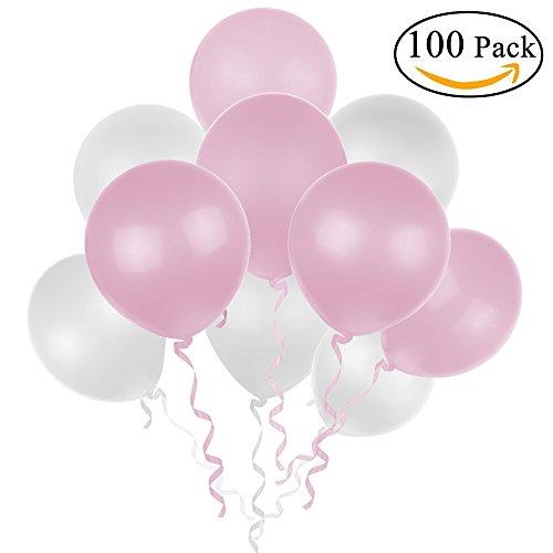 Lictin 100 Luftballons Weiß und Rosa Luftballon jede 50 Stück Luftballons für Halloween, Weihnachten, Geburtstagsfeiern, Party, Hochzeitsfeiern