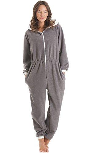 Combinaison pyjama à capuche - polaire - gris