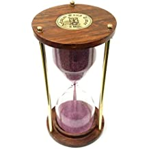 Artshai 5 Minute Wood And Brass Sand Timer Hourglass,6 Inch Size