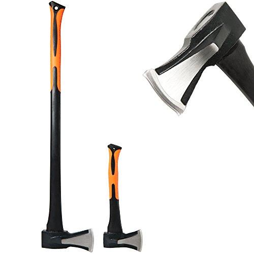 Deuba AXT + Beil | 2er Set | gummierter, ergonomischer Handgriff | Aufhängebohrung | inkl. Gummischutz - Universalaxt Universalbeil Spaltaxt Spaltbeil Spalthammer Holzspalter