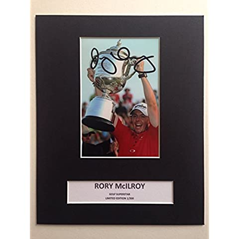 Edizione limitata Rory McIlroy Golf firmato Photo Display + Cert autografo stampato Edizione Limitata