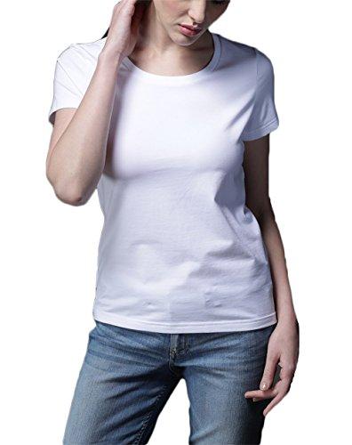 SUNDAY ROSE SUNDAYROSE Damen T-Shirt Gr. Medium, Crewneck White (T-shirt Crewneck Solid Sleeve Short)