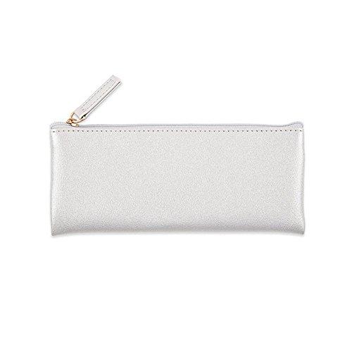 Doitsa 1 Stück Kosmetiktasche Make-up Tasche PU leder Stiftemäppchen mit Zipper Geldbörse Kleine Objekte Lagerung für Damen und Mädchen - Silber-münze Lagerung