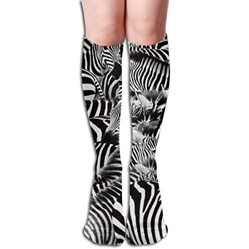 3d Rose Zebra Herde Verpackt Enge Männer Und Frauen Kompression Kniestrümpfe Hohe Fitness Neuheit Strümpfe 50 cm Stilvolles Design