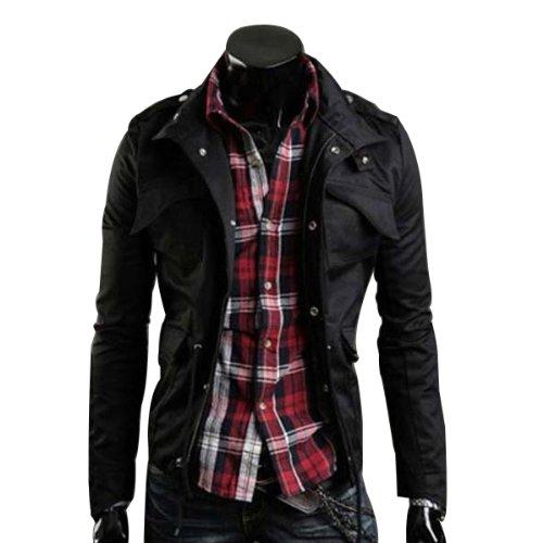 Zicac Fashion Herren Slim Fit Jacke Mantel Zip Button Hoody Outing Jacken Schwarz