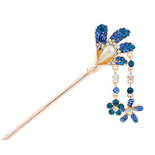 Pétale strass style rétro Femmes Filles Tassel Piques à cheveux Bleu Royal