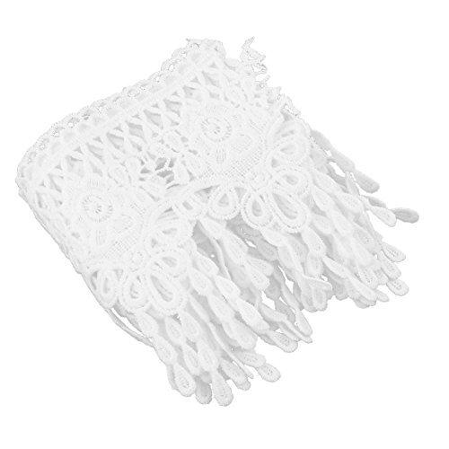 DealMux Polyester main métier de couture Vêtements du panneau extérieur Decor dentelle 11 centimètres largeur blanc