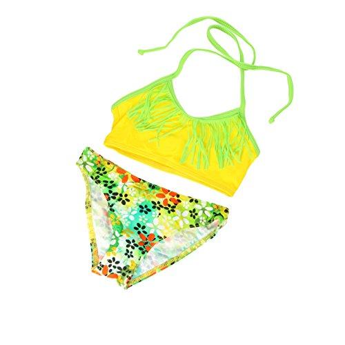 Mädchen 2 Teiliger Tankini Badeanzug (Mädchen-Tankini, Badeanzug, 2-7 Jahre - L41 Gr. 4-5 Jahre 116 cm, Yellow Flowery)