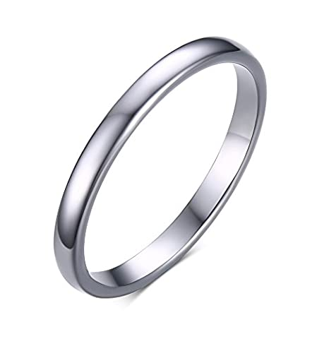 Vnox Women's Men's Thin Simple Tungsten Carbide Plain Band Wedding Engagement Promise Ring 2mm Width Silver