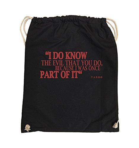 Comedy Bags - I DO KNOW THE EVIL - TABOO - Turnbeutel - 37x46cm - Farbe: Schwarz / Pink Schwarz / Rot