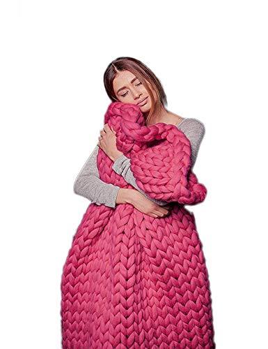 B&H-ERX Werfen Grob gestrickte Blanke Arm Knit Super großen Hand Strickgarn Haustier-Bett-Stuhl Sofa Yoga-Matten-Teppichs,Rosa,200 * 200cm -