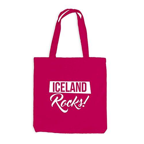 Jutebeutel - Iceland Rocks Football Fussball Island - Fan Pink