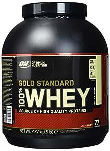 Optimum Nutrition Gold Standard Whey Eiweißpulver (mit Glutamin und Aminosäuren, Protein Shake von ON), Vanilla Ice Cream Eiweiß, 77 Portionen, 2,27kg