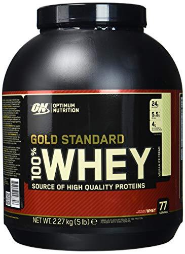 Optimum Nutrition Gold Standard Whey Eiweißpulver (mit Glutamin und Aminosäuren, Protein Shake von ON), Vanilla Ice Cream, 77 Portionen, 2.27kg
