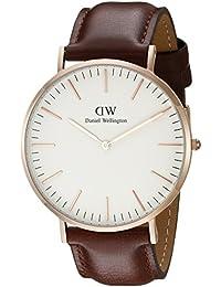 Daniel Wellington Herren-Armbanduhr St. Mawes Analog Quarz Leder Rose Gold DW00100006