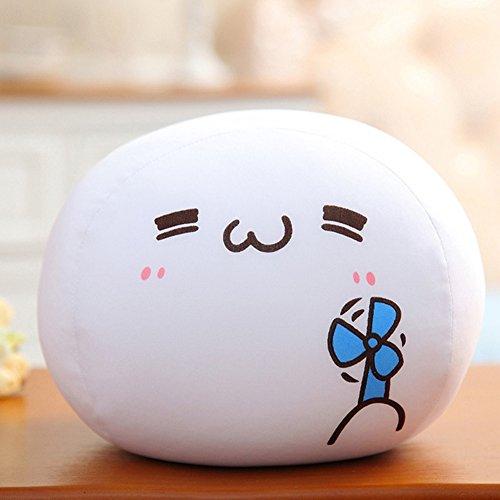 ChezMax 20cm Niedlich Spandex Dekorative Dekokissen für Home Office Sofa Gefüllte Spielzeug Rücken Kissen Kreative Weiße Kaomoji Puppe für Kinder (Dekorative Nackenrolle Kissen)