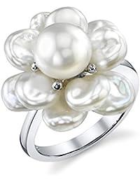 White Freshwater Keshi Shaped Cultured Pearl Ring