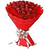 Floralbay Valentine Specialred Roses Bouquet Fresh Flowers In Red Paper Packing (Bunch Of 30)