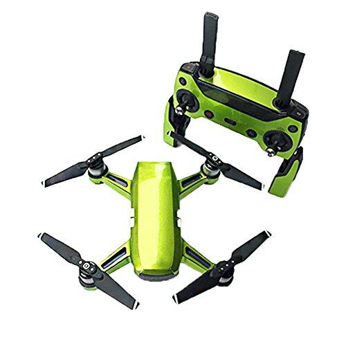 Preisvergleich Produktbild Haodasi Körper+Fernbedienung+3*Batterie Fluoreszierend Wasserdicht Aufkleber Abziehbild Set für DJI Spark Drohne Farbe Grün