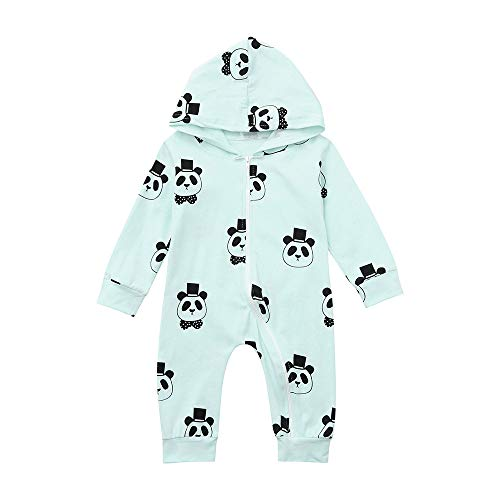 Bauycy Onesies Baby Kinder Hoodies Jungen und Mädchen langärmelige Cartoon Panda mit Kapuze Overall Strampler Reißverschluss Sweatshirt Baby Mode lässig Hemd