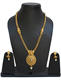 Lucky Jewellery Designer White Color Copper Gold Plated Necklace With Earring For Girls & Women