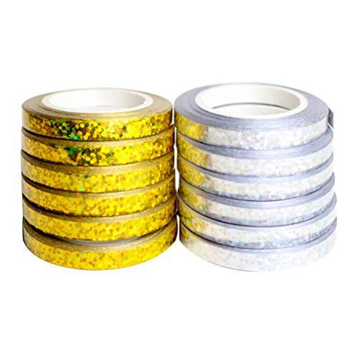 Amosfun 12pcs Curling Ballons Ribbon Ballons String Roll Geschenkpapier Bänder (Golden/Silber)