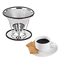GENERIC Reusable Coffee Filter and Single Cup Coffee maker Stainless Steel Pour Over Cone Dripper Reusable Coffee Filter Cup Stand