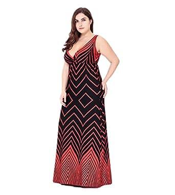YiJee Donna Elegante Abito Lungo Vintage Floreale Abiti Cocktail Sera del Partito Taglie Forti Vestito Rosso 2XL