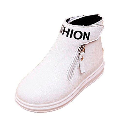Btruely Kinder Warme Stiefel Mode Kinder Stiefel Baby Winter Schuhe Martin Stiefel Jungen Mädchen Beiläufig Stiefel (33, Weiß) (Mädchen Weißen Leder Stiefel Weichen)