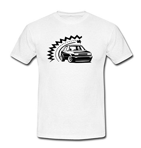 T-Shirt Auto Youngtimer Oldtimer Jetta Automotiv weiß/schwarz S-3XL Schwarz