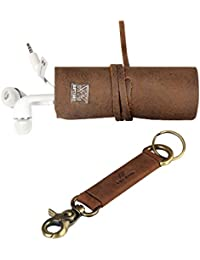 Genuine Leather Cords Wrap Organizer And Key Holder Pack
