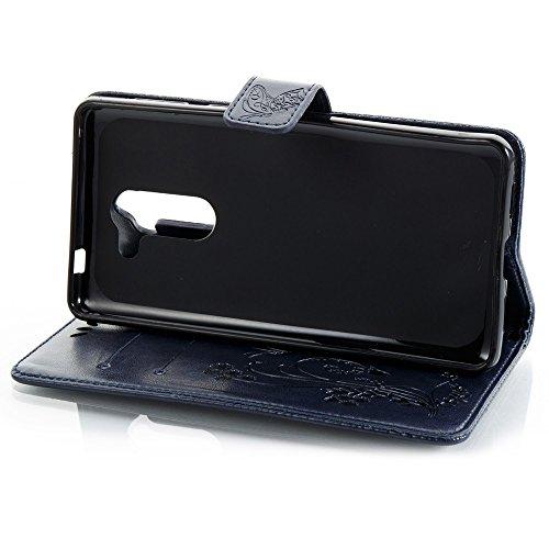 EKINHUI Case Cover Horizontale Folio Flip Stand Muster PU Leder Geldbörse Tasche Tasche mit geprägten Blumen & Lanyard & Card Slots für Huawei GR5 2017 ( Color : Blue ) Royal Blue