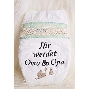 """Bestickte Windel"""" Ihr werdet Oma und Opa ! Storch (Schwarz)"""