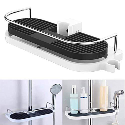 NFYOI Dusch-Caddy Verstellbare Badezimmer-Dusch-Ablage Kombi-Organizer Korb Duschwanne für Seifen, Shampoos, Conditioner, Körperwäsche, Peeling, Luffa, Rasierer Badezimmer-Zubehör Oval -