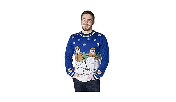 7999e4056bb9 Crazy Holidaze Men s Sherlock Snowman Ugly Christmas Sweater - Blue -   Amazon.co.uk  Clothing