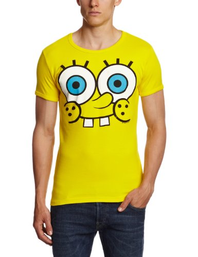 Logoshirt Unisex  T-Shirt Slim Fit Spongebob-Faces, Gr. Large (Herstellergröße: Large), Gelb