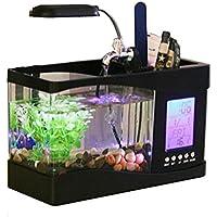 Anself Lampada LCD Mini USB Da Scrivania con Luce a LED, Acquario e orologio, bianco, con 6modalità di suoni della natura, acquario ornamentali., Black