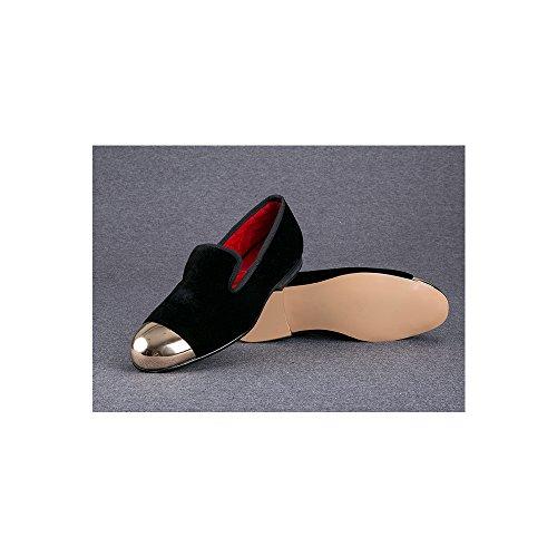 Herren Schuhe Samt flach Metalltoe KleidSchuhe handgemacht Samt