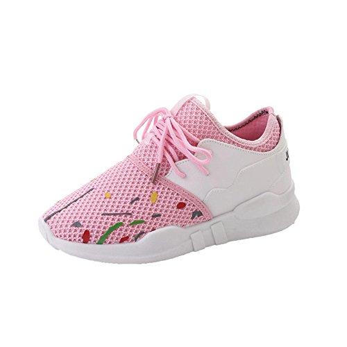 Longra Donna Pattini sportivi traspiranti, pettini femminili, scarpe singole, pattini piatti in pizzo Rosa