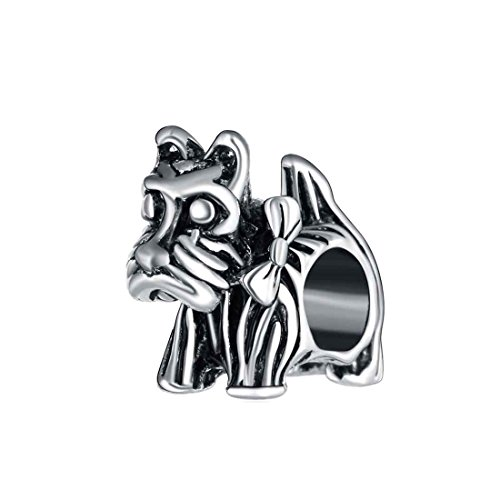 Bling Stars Cute Puppy Schnauzer Dog Pet Charm Bead Fits Pandora Charms Bracelet